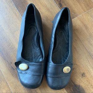 Born leather block heel career pump black sz 8.5